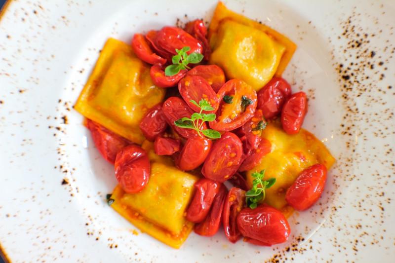 tagAlt.Cod filled Tortelli Chickpea Cream Cherry Tomato Confit