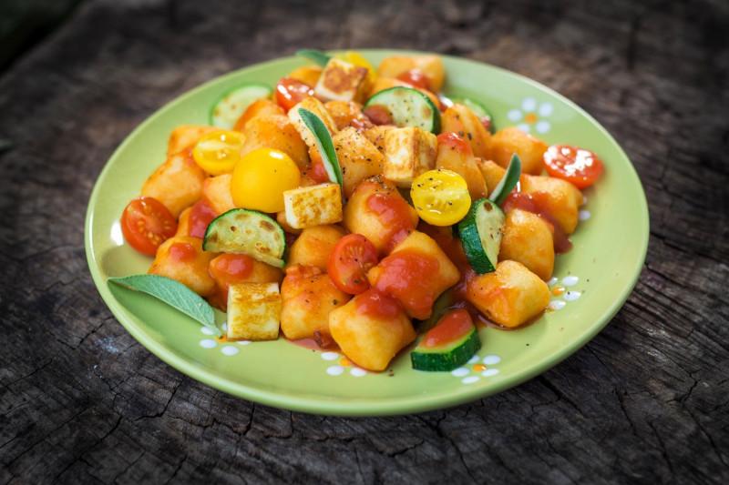 tagAlt.Potato Gnocchi Cherry Tomatoes Zucchini Burrata
